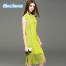 2017 Sexy Knitted Slim Tassel Party Dress Women Summer Sleeveless Side Perspective O-Neck Dresses Spring Vestidos