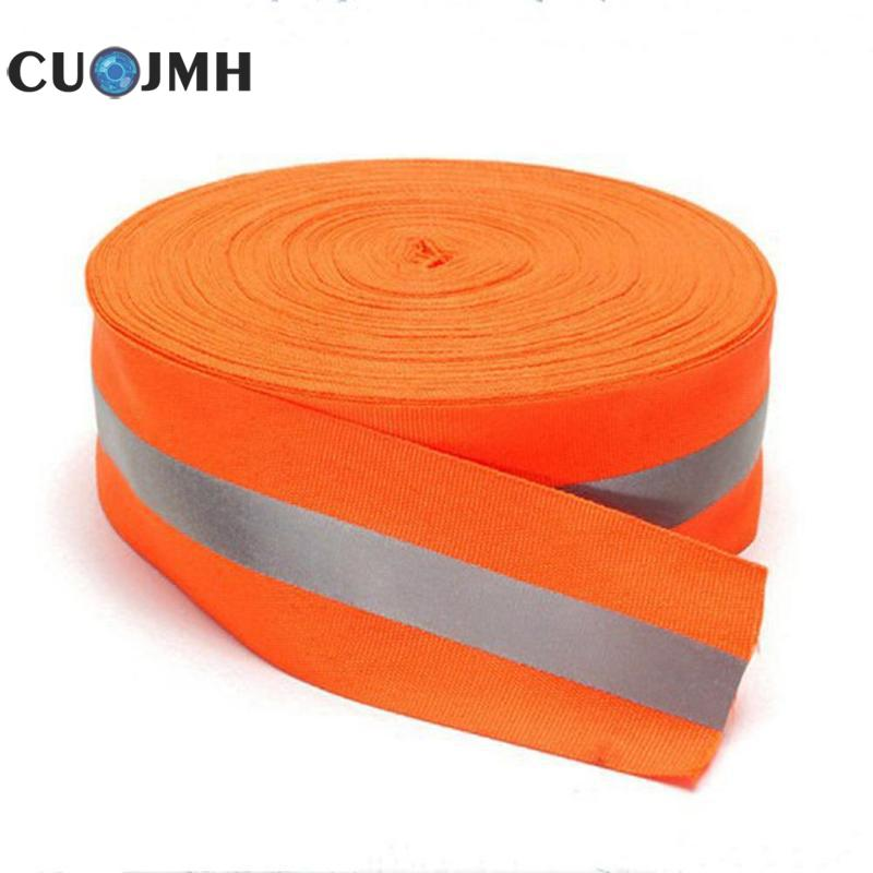 Fluorescence Orange Reflective Fabric Tape Sew On Safe Clothing Traffic Safety Supplies Washable Reflective Warning Tape цена 2017
