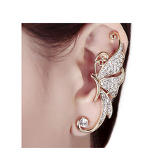 LS 1 Piece Surgical Steel Gold Crystal Rhinestone Butterfly Ladies Body Jewelry Chic Fashion  Ear Cuff Clip Earring New