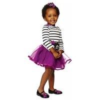 2017 Otoño Lindo Gato Ropa de La Muchacha Set Top Stripe + Purple Tutu Faldas Niños Princesa de La Muchacha Ropa de Marca Ropa de Niños conjunto