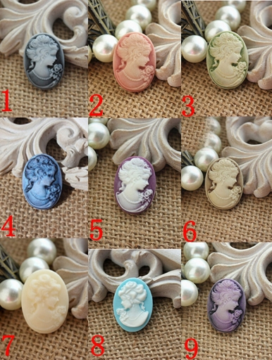 25*18mm 9 color optional resin Pretty woman head cabochons resin flower pendants for jewelry decoration!40pcs 009005046
