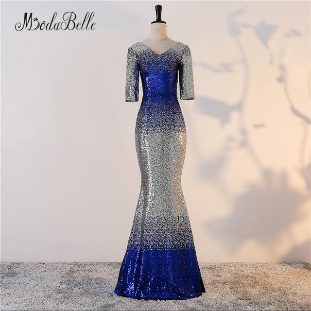 modabelle Sparkly Mermaid Long Sequin Evening Dress With Short Sleeves Sexy  Silver Blue Formal Dress Party Robe De Soiree 2018 5ba9eb7fddc0