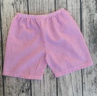 Pink Red Stripe Seersucker Boys Cotton Seersucker Beach kids Shorts Cheap Wholesale