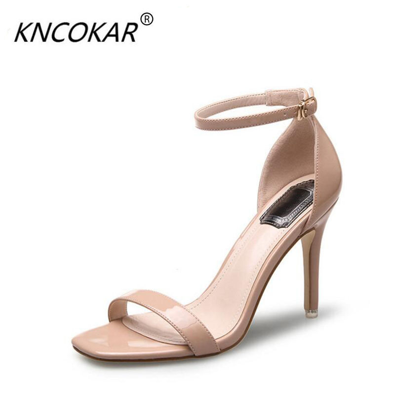 A word buckle with 2017 new summer woman sandal Square head breathable open-toed <font><b>sexy</b></font> Package with <font><b>10</b></font> cm stiletto fashion heels image