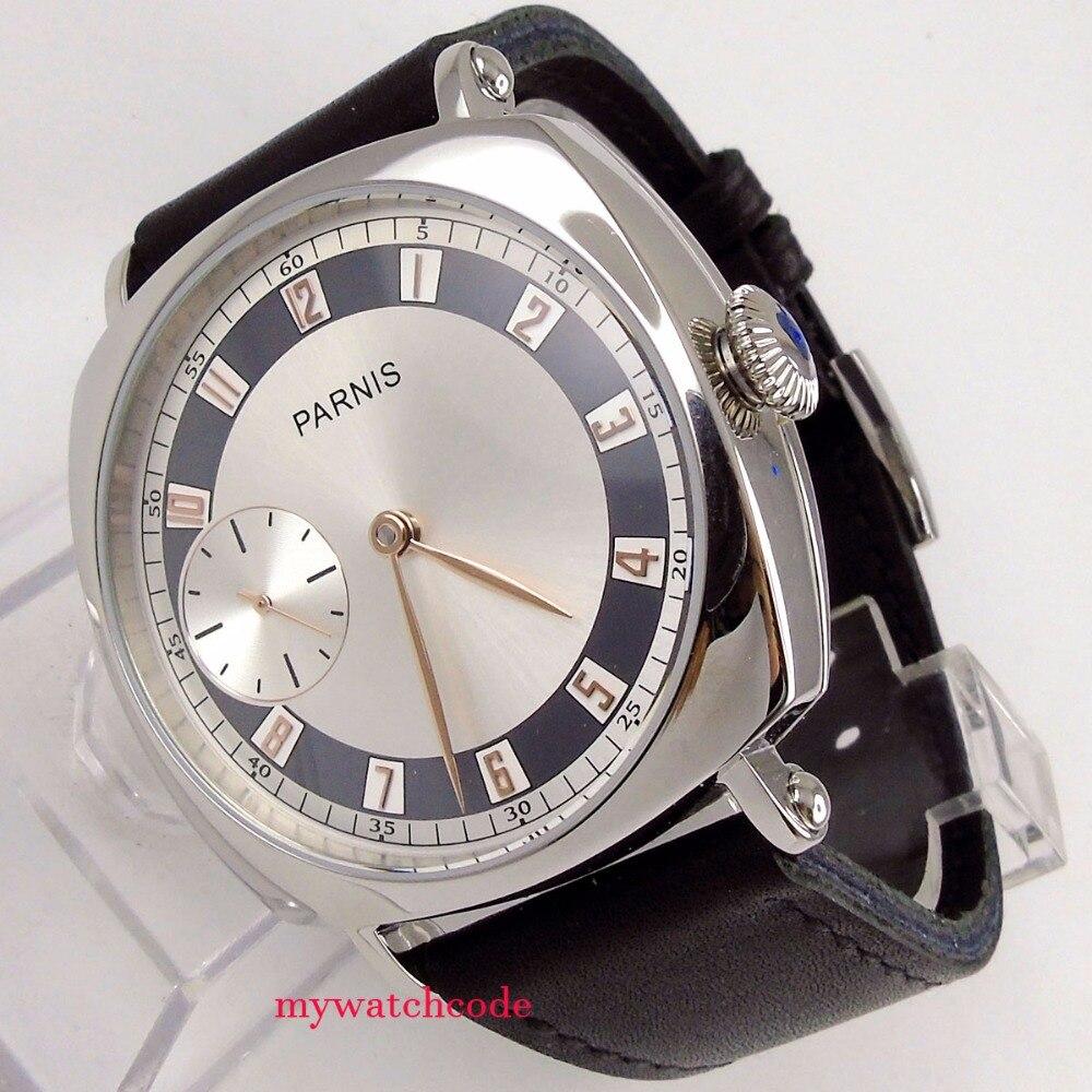 44 мм parnis серебряный белый циферблат Echtes Ледер ST6497 Рука обмотки Мужские часы Uhr