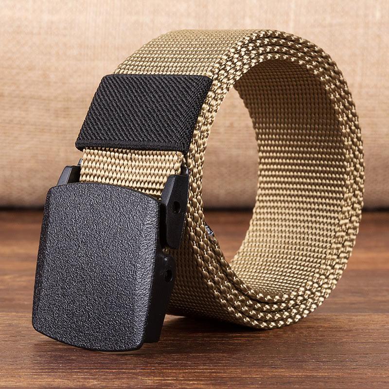 Военный мужской ремень, армейские ремни, регулируемый ремень для мужчин, для улицы, для путешествий, тактический поясной ремень с пластиковой пряжкой для брюк 120 см - Цвет: Khaki