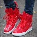 Красный повседневная обувь джастин улица танцевальная обувь skate шаг хип-хоп призрак мужской обуви язык высокого лучших тренеров белые туфли