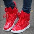 Rojo zapatos casuales justin altos zapatos de skate paso hip hop street dance fantasma masculino lengua-bota zapatos blancos