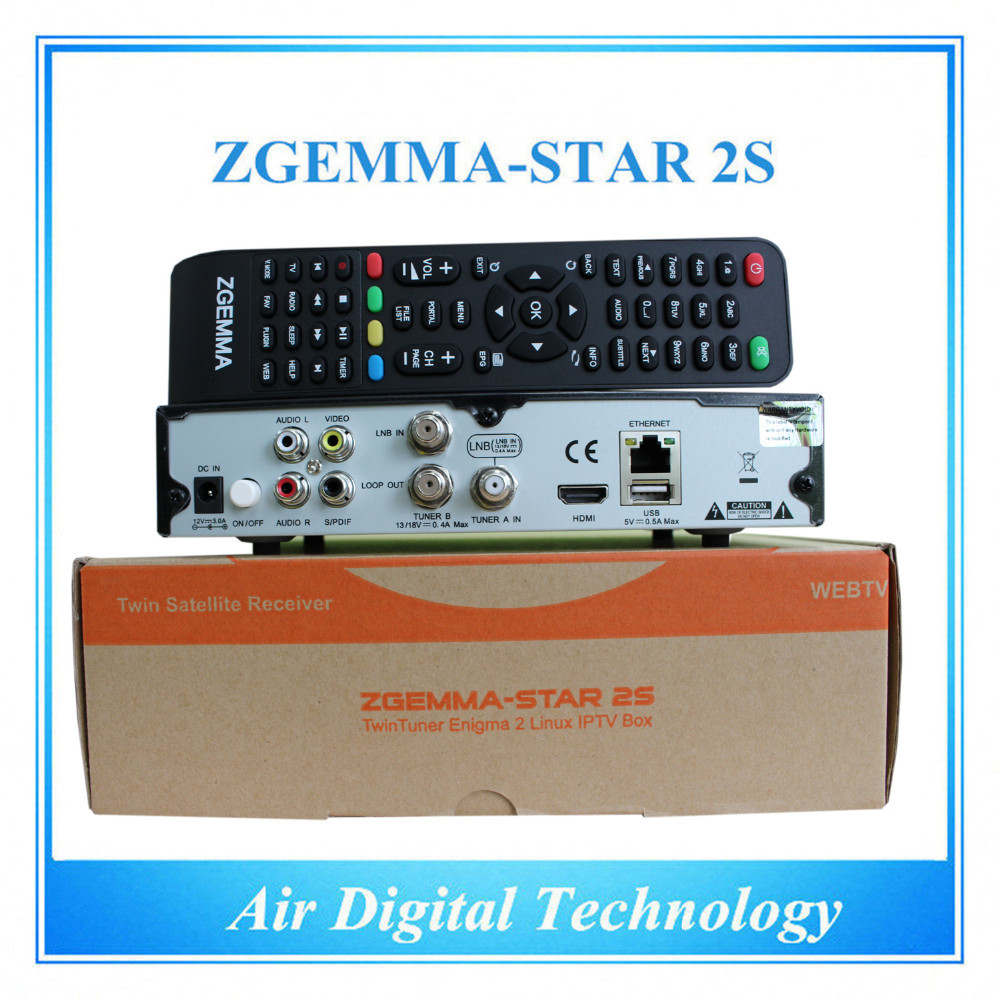 10pcs/lot  Smart IPTV Cable Box Zgemma-Star 2S FTA Satellite Receiver With Dual Core Linux OS Enigma2 PVR DVB-S2+S2 Twin Tuners 10pcs zgemma star i55 support satip iptv box bcm7362 dual core mainchipset 2000 dmips cpu linux enigma 2 hdmi connection