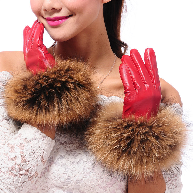 Touch Screen Women Leather Gloves Warm Winter Racoon Fur Luxury 100% Genuine Sheepskin Leather Gloves Snow Outdoor Gloves Black
