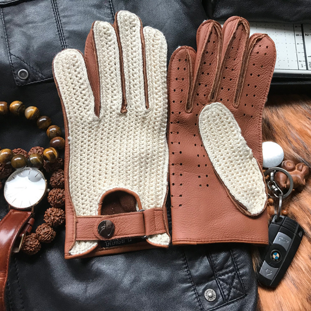 Men's Goatskin, Knitted + Leather Gloves