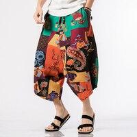M 5XL Summer plus size cotton Linen mens Harem Pants male loose hip hop big men Wide leg elastic waist Calf Length Pants