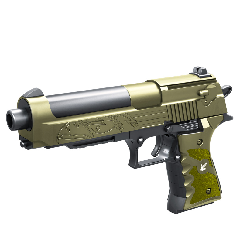 Building Blocks Toy Gun Desert Eagle Assembly Toy Puzzle Brain Model Can Fire Bullets With Instruction Book And A Bag Bullets 3d paper model gun pistol hellboy revolver with bullets firearm oversized model