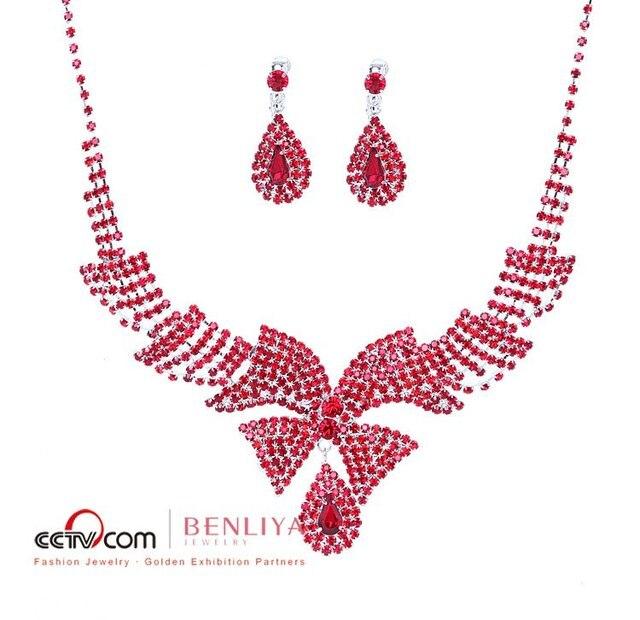 Fashion red  Alloy Rhinestone Necklace Earring Set,Rhinestone Wedding Jewelry  Designed by  designers from fashion week 110603