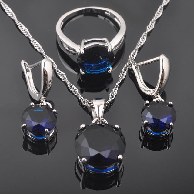Round Blue Zirconia Women's 925 Sterling Silver Jewelry Set