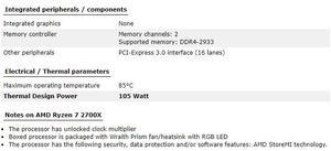 Image 5 - New amd ryzen 7 2700X cpu 3.7GHz Eight Core Sixteen Thread 105W TDP processador Socket AM4 Desktop with sealed box radiator fan