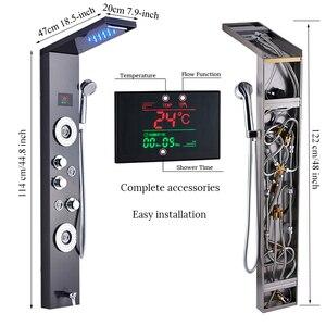 Image 5 - חדש יוקרה שחור/מוברש אמבטיה ברז מקלחת LED מקלחת פנל עמודת אמבטיה מיקסר ברז עם יד מקלחת טמפרטורת מסך