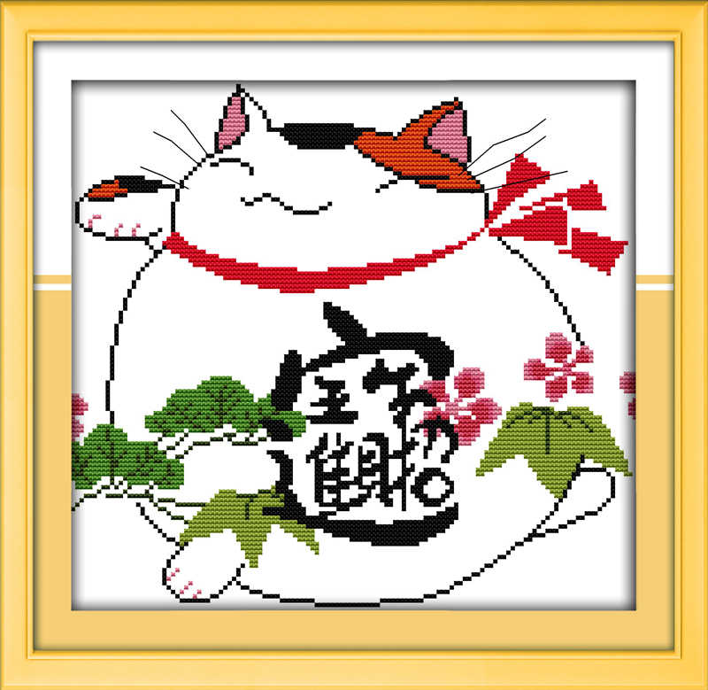 The fortune cat (2) cross stitch kit cartoon 14ct 11ct count print canvas stitching embroidery DIY handmade needlework