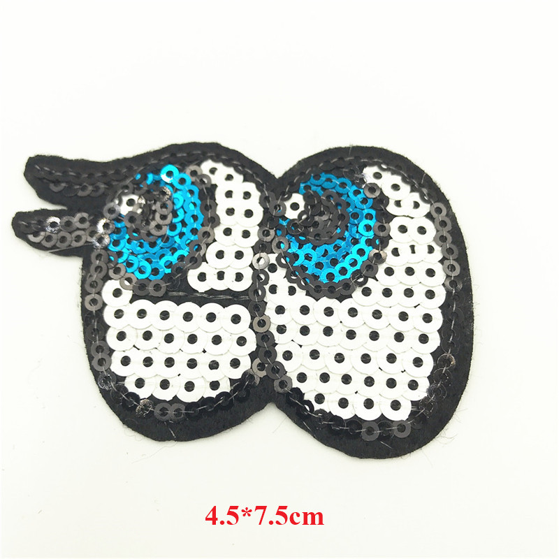 50pcs 4 5 7 5cm Eyes Patches Iron On Sequin Applique On Clothes Fabric Dress Ornaments Badges Handmade Sewing Stickers in Patches from Home Garden