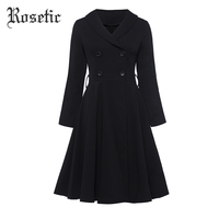 Rosetic Coats Women Gothic Style Fashion Black Color Buttons Long Sleeve Lapel Collar A Line Outerwear Elegant Women Spring Coat