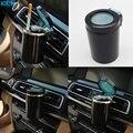 Universal Colgando portavasos Cenicero de cigarrillos Del Coche LED luces negro ronda cubo de cenizas para hombres ceniza humo caja de almacenamiento de Coches Styling