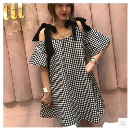 2019 New Summer Fashion <font><b>Sexy</b></font> Lattice Shoulder Dress Casual Vingate O Neck Short Sleeve Mini Dresses Plus Size <font><b>5xl</b></font> Vestidos <font><b>Mujer</b></font> image
