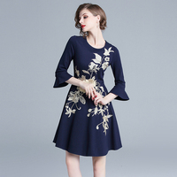 Elegant Autumn Spring High quality heavy work Floral Embroidery lady 3/4 Sleeve O Neck Slim Casual eventing party Women Dress