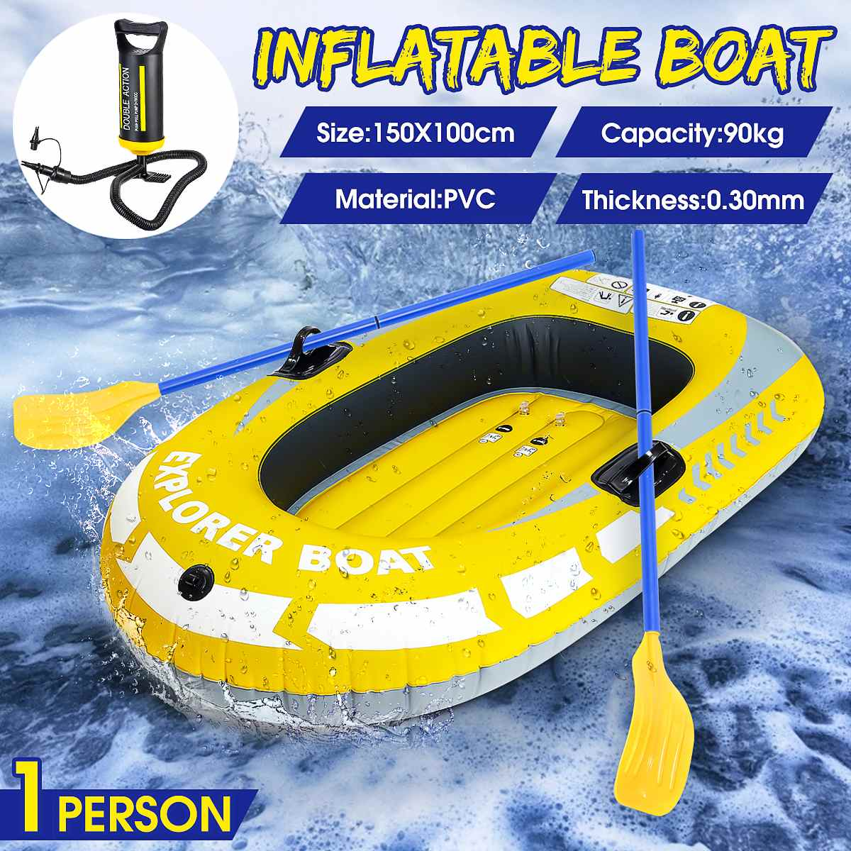 Inflatable Boat Professional Outdoor Sport Tools Canoe 1Person PVC Stream Kayaking Rubber Boat Convenient Boating Fishing
