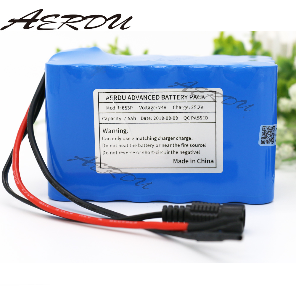 Reasonable Aerdu 24v 7.5ah 6s3p 25.2v Li-ion Battery Pack Lithium Batteries For Electric Motor Bicycle Ebike Scooter Toy Drill Etc With Bms To Reduce Body Weight And Prolong Life Battery Packs Batteries