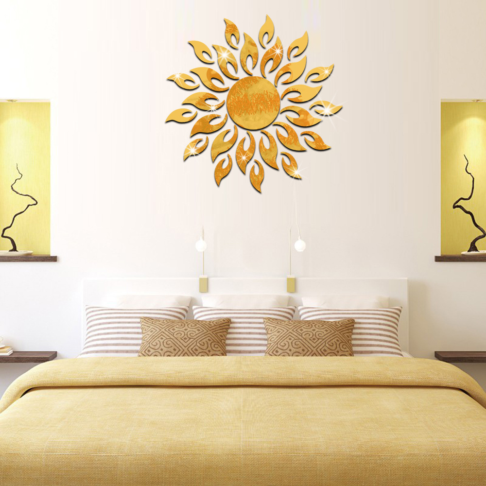 online get cheap sun decals aliexpresscom  alibaba group - creative d acrylic mirror surface wall sticker diy sun flame fire flowerhome decor room tile