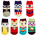 1 Pair New SpringSummer Cartoon Men&Women Short Socks Marvel Superman Batman Happy Boat Socks Funny Kawaii Colorful Ankle Sock
