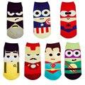 1 Par Novo SpringSummer Homens & Mulheres Meias Curtas Marvel Superman Batman Dos Desenhos Animados Feliz Barco Meias Engraçado Kawaii Colorido Tornozelo meia