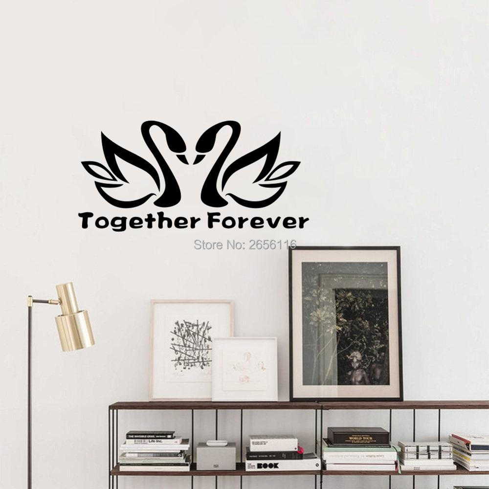 Love Quotes Together Forever Swan Lover Cute Animal Pattern Wall Decal Art Vinyl Carved Decor for