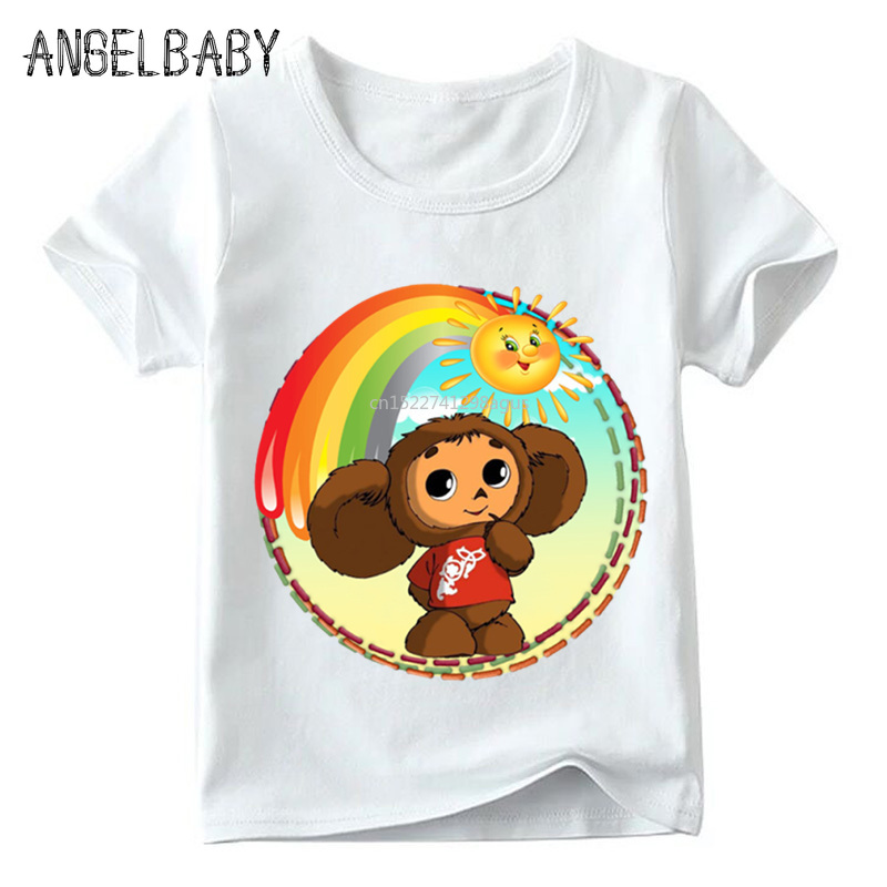 Children Russian Cartoon Cheburashka Print Funny T Shirt Baby Boys/Girls Summer Chebu Russia Tops Kids Casual Clothes,ooo5167