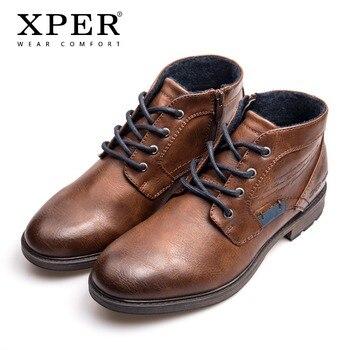 Бренд XPER 2018, большие размеры 40-48, мужская повседневная осенне-зимняя обувь, мужские ботильоны на молнии, удобная Рабочая обувь # XHY12507BR >> XPER Official Store