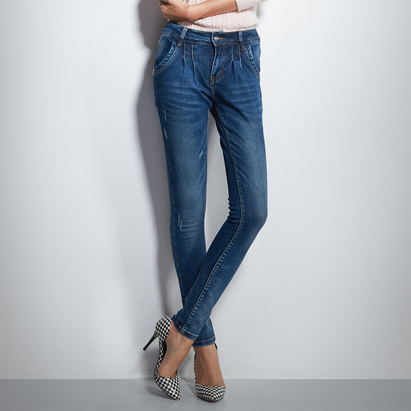 ФОТО New Arrival Spring Jeans Woman Korean Style Slim Pants Full Length Pencil Pants Middle-waisted Women Pants Jeans 3312