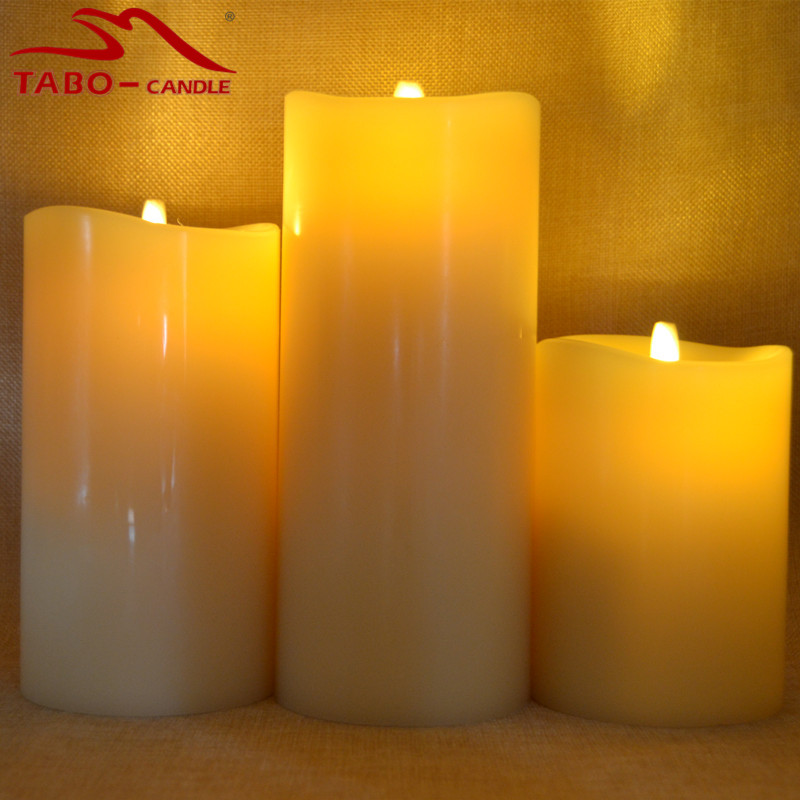 moving flame amazing flameless candle wax ivory color unique and elegant battery operated - Flameless Candles With Timer