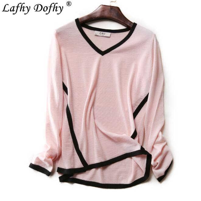 Новый весенний качественный японский элегантный вязаный свитер с v-образным вырезом и тонкой кожей для женщин 173