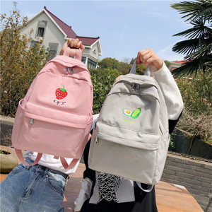 Image 3 - DCIMOR New Fruit embroidery Women Backpack Little fresh Waterproof nylon solid color shoulder bag Girlsschoolbags for teenagers