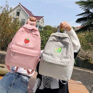 Image 3 - DCIMOR Nuovo Frutto del ricamo Delle Donne Zaino Piccolo fresco di nylon Impermeabile borsa a tracolla di colore solido Girlsschoolbags per gli adolescenti