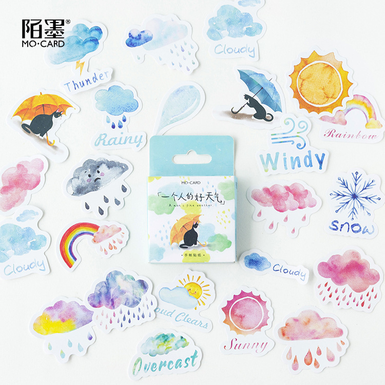 46PCS/box Cute Weather Diary Paper Lable Sealing Stickers Crafts And Scrapbooking Decorative Lifelog DIY Stationery