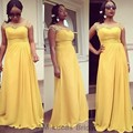 Long Bridesmaid Dresses 2016 Yellow Chiffon Arabic Appliques Wedding Party Gowns Cap Sleeves Maid of Honor Gown Plus Size