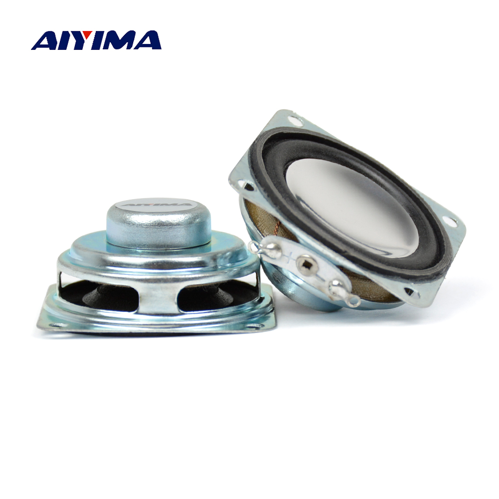 Aiyima 2Pcs 1.5Inch Audio Speaker Strong Magnetic Speakers 8Ohm 2W 40MM Mini Portable PU Edge Cone Speaker