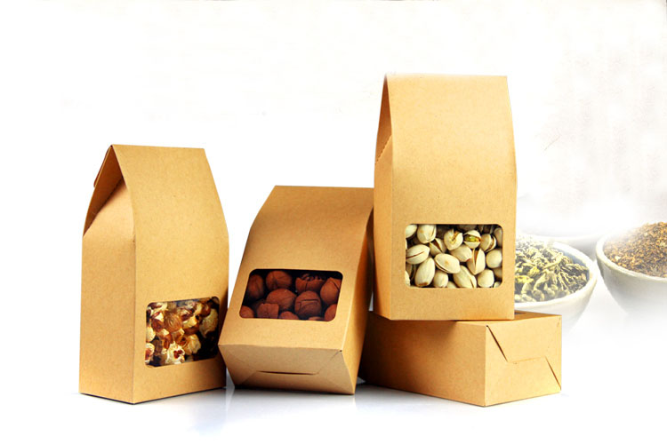 100pcs kraft paper bags boxes Paper brown stand up window for wedding Gift Jewelry Food Candy