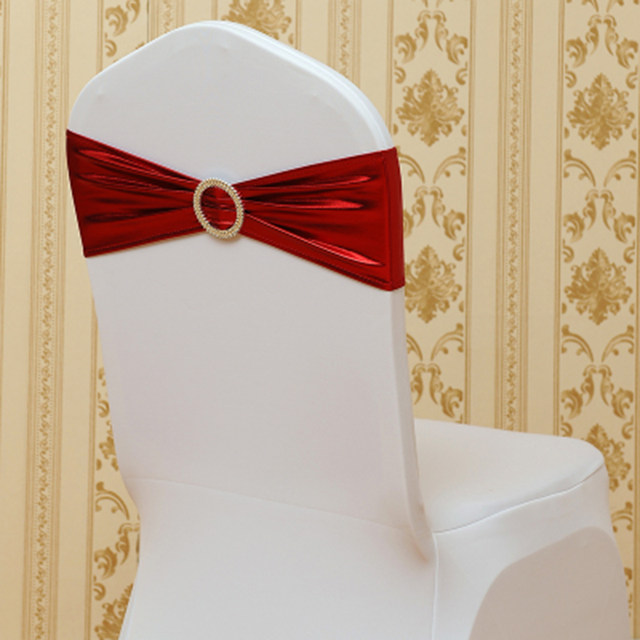 online shop elastic spandex chair bow sash stretch gold silver