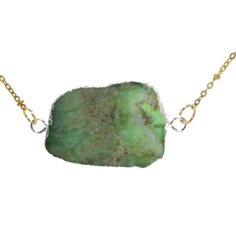 แฟชั่นเครื่องประดับคริสตัลควอตซ์ Gold Bezel จี้ผู้หญิงสร้อยคอหินธรรมชาติดิบ Chrysoprase slab slice สร้อยคอ