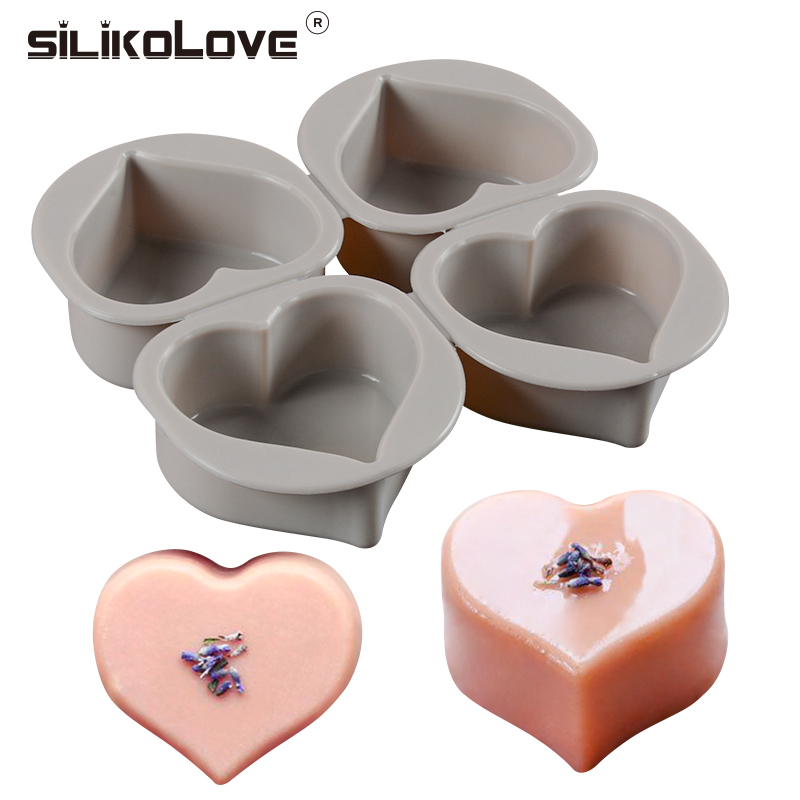 SILIKOLOVE 4 Cavity 3D 100% Real Pure Silicone  Soap Mold Heart Shape Handmade For Soap Making  Bathroom Kitchen Easy To Clean
