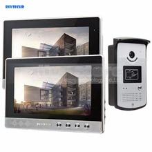 DIYSECUR 10 inch Video Door Phone Doorbell Home Security Intercom System RFID Camera LED Color Night Vision 1 Camera 2 monitors