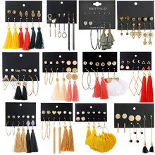 Hot 14 Bohemian Earring Long Tassel Drop Earrings Set For Women Girl 2019 Fashion Geometric Earring Cheap Brincos Female Jewelry цена