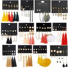 New Fashion 14 Style Bohemian Earring Long Tassel Drop Earrings Set For Women Girl 2019 Fashion Geometric Earring Cheap Brincos цена